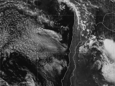 Imagen satelital GOES-13 visible. (Fuente: INPE-CPTEC)