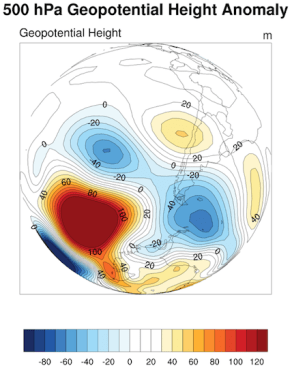 Anomalías en 500 hPa. (Fuente datos: NCEP-NCAR)