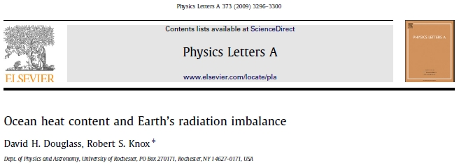 Douglass/Knox: Ocean heat content and Earth's radiation imbalance (1/3)