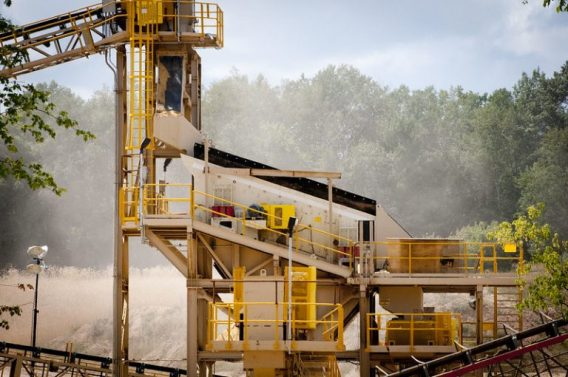 Dust in the air at a frac sand processing facility in Wisconsin. Photo by Tara Lohan.