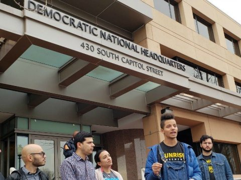 Representatives from youth organizations on Wednesday spoke about the importance of a robust debate in front of the DNC headquarters in Washington, D.C. (Photo: Sunrise Movement)