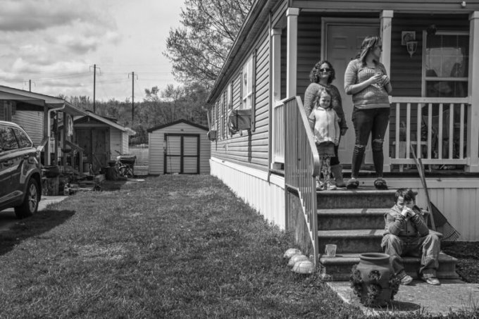 Scrimger and her children and stepchildren at the mobile home they are now living in. (J.M. Giordano for ProPublica)