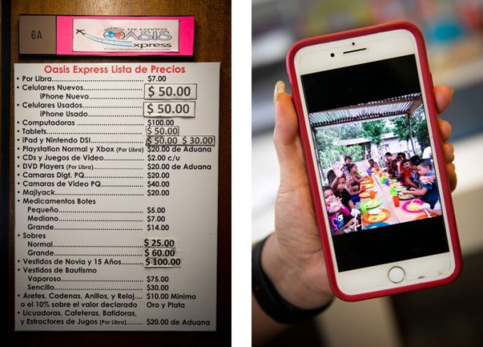 Left: A menu of services outside of Corado's business. Right: A picture from her community in Honduras, where she delivers items for customers in the U.S. (Annie Mulligan for The Texas Tribune)