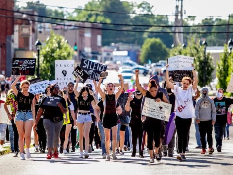 Demonstrators protest in Anna, Illinois on June 4 over the death of George Floyd. (Brian Munoz/Reuters)