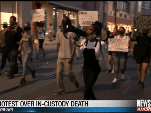 Demonstrators took to the streets in Tuscon Wednesday night over the killing of Carlos Ingram Lopez. (Photo: screenshot/KVOA)