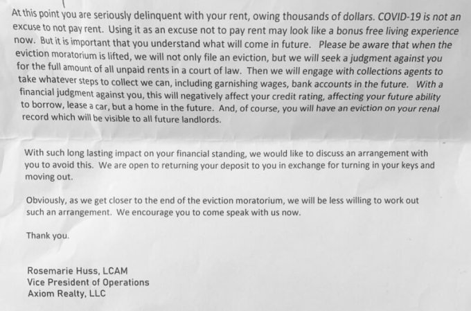 Axiom Realty Partners LLC sent a letter this month threatening to file an eviction case against a tenant who fell behind on rent. (Obtained by ProPublica)
