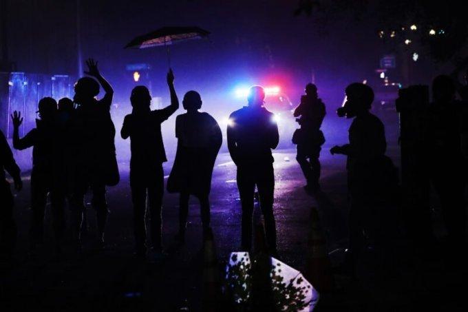 Black Lives Matter protesters in Portland, Oregon, on Monday night. (Spencer Platt/Getty Images)