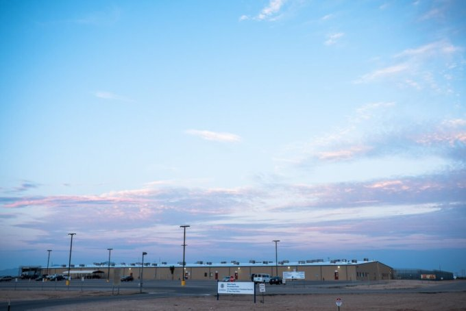 The Otero County Processing Center just outside Chaparral, New Mexico, can house just over 1,000 people. Credit: Joel Angel Juárez for Reveal