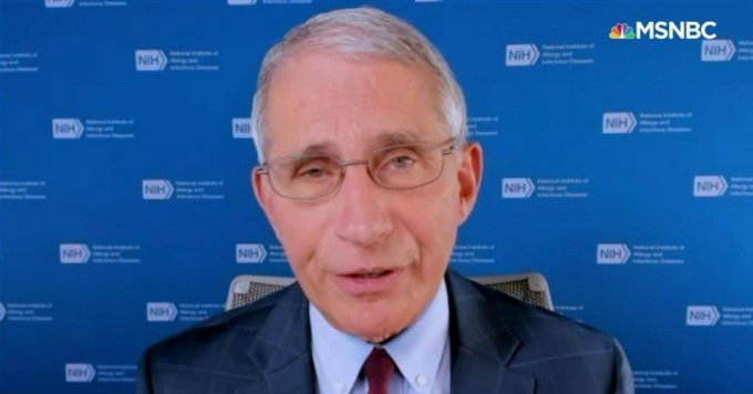 Dr. Anthony Fauci, director of the National Institute of Allergy and Infectious Diseases, was interviewed Friday by MSNBC's Andrea Mitchell. (Photo: MSNBC)