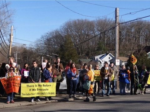 "Community members participate in a March 9, 2013 ""No More Fukushimas"" and ""Walk for a New Spring"" protest in Croton-on-Hudson, New York in opposition to the Indian Point nuclear power plant. (Photo: Vanessa/Flickr/cc)"