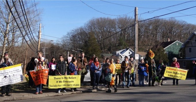 """Community members participate in a March 9, 2013 """"No More Fukushimas"""" and """"Walk for a New Spring"""" protest in Croton-on-Hudson, New York in opposition to the Indian Point nuclear power plant. (Photo: Vanessa/Flickr/cc)"""