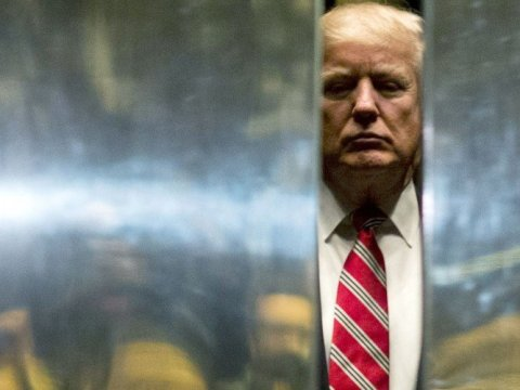 Donald Trump heads back into the elevator at Trump Tower on January 16, 2017 in New York City. (Photo: Drew Angerer/Getty Images)