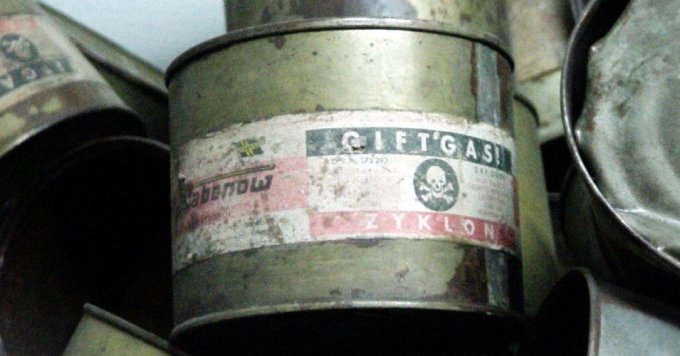 A Zyklon B container is displayed at the KL Auschwitz-Birkenau concentration camp museum in Poland. (Photo: Michael Hanke/WikiMedia Commons)