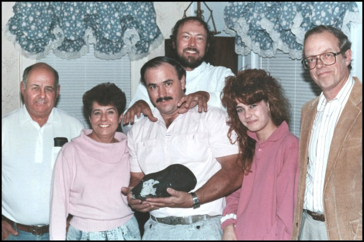 Michelle Knapp with family and the Peekskill Meteorite