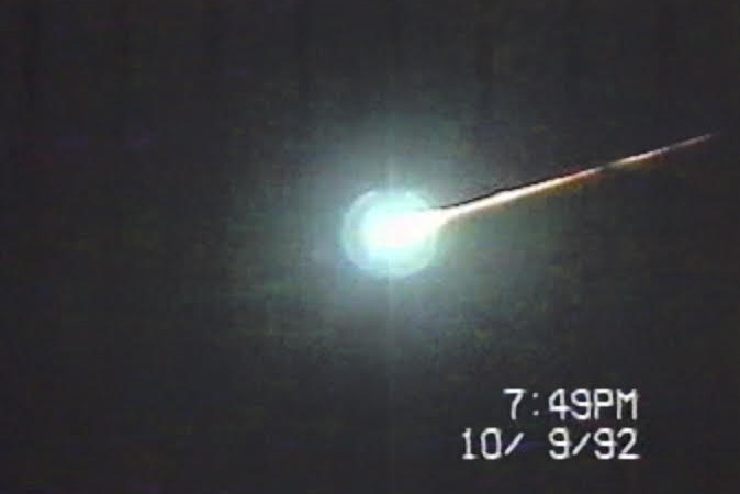 The Peekskill Meteorite as it falls to earth