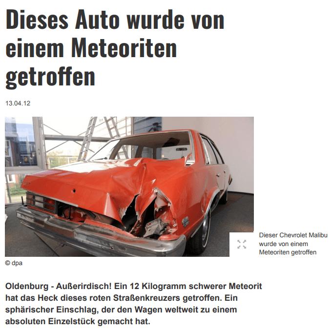 Peekskill Meteorite Car Article German