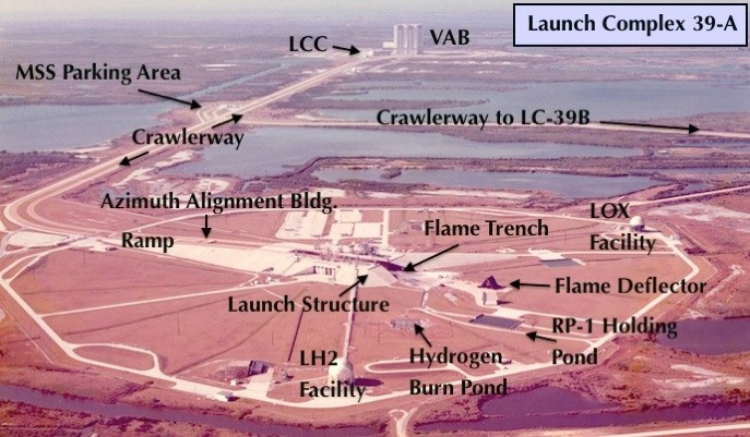 Aerial view of launch pad apollo era corrected annotation