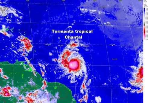 Imagen infrarroja de Chantal con respecto al Caribe Oriental