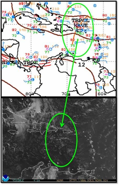 Onda Tropical 12. No ha logrado asociar nubosidad convectiva significante. Arriba el mapa de superficie y la ubicación de su eje. Abajo imagen de espectro visible