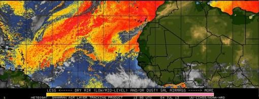 Imagen actual del polvo sahariano. Nótese su llegada hasta la zona del Caribe. Fuente CIMSS