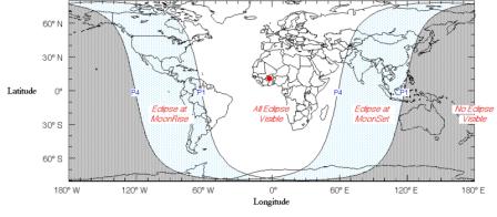 El  mapa muestra las regiones desde las cuales será posible ver el eclipse. En gris, las zonas que no observarán el eclipse; en blanco, las que si lo verán; y en celeste, las regiones que podrán ver el eclipse durante la salida o puesta de la luna.