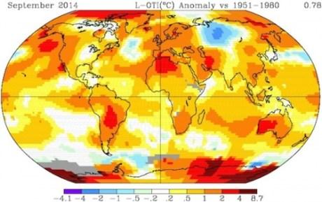 Anomalías de temperatura (en grados centígrados) de diferentes regiones de todo el mundo en septiembre de 2014. Haga clic en la imagen para agrandarla.  Crédito:  NASA