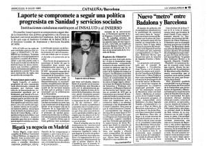 Notícia sobre la creació de l'ICS a La Vanguardia. 6 de juliol de 1983.