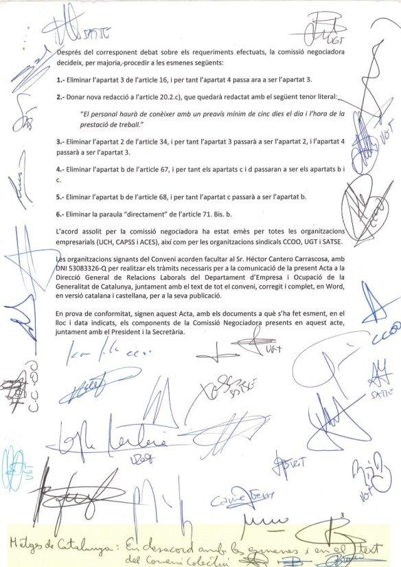 Última pàgina de l'acta de la reunió de la comissió negociadora del conveni amb la nota de desacord de MC.