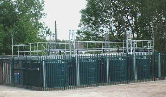 A large methane stripping installation with dual tank lines for maintenance while still on-line.