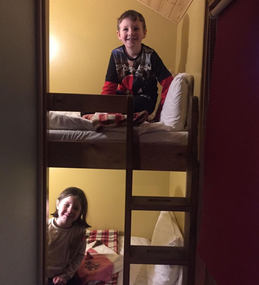 The bunk beds the kids sleept in on the santa sleepover