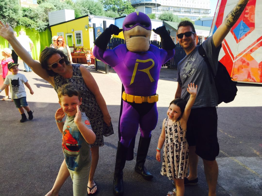 """How to save money on family days out, I,age of family of 4 on a day out at adventure island with """"Rage man"""""""