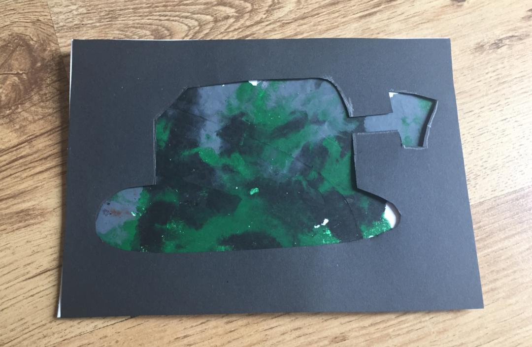 Finished melted crayon army card