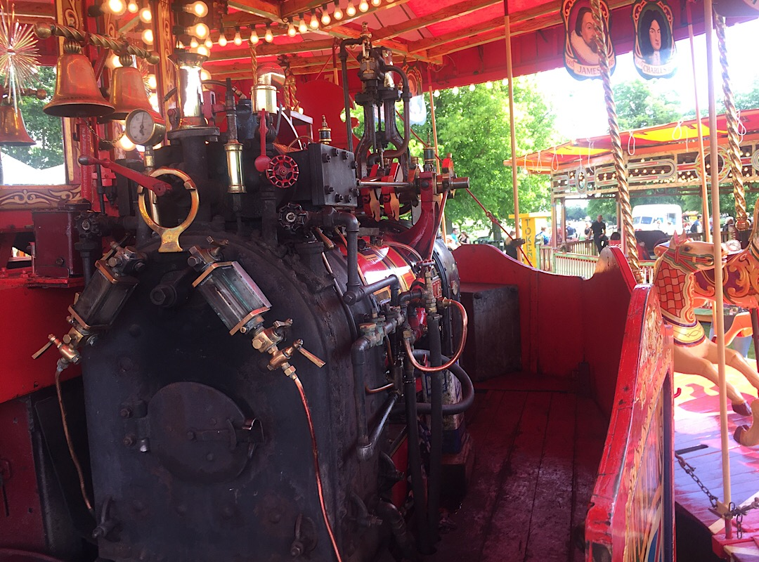 The steam engine on the gallopers