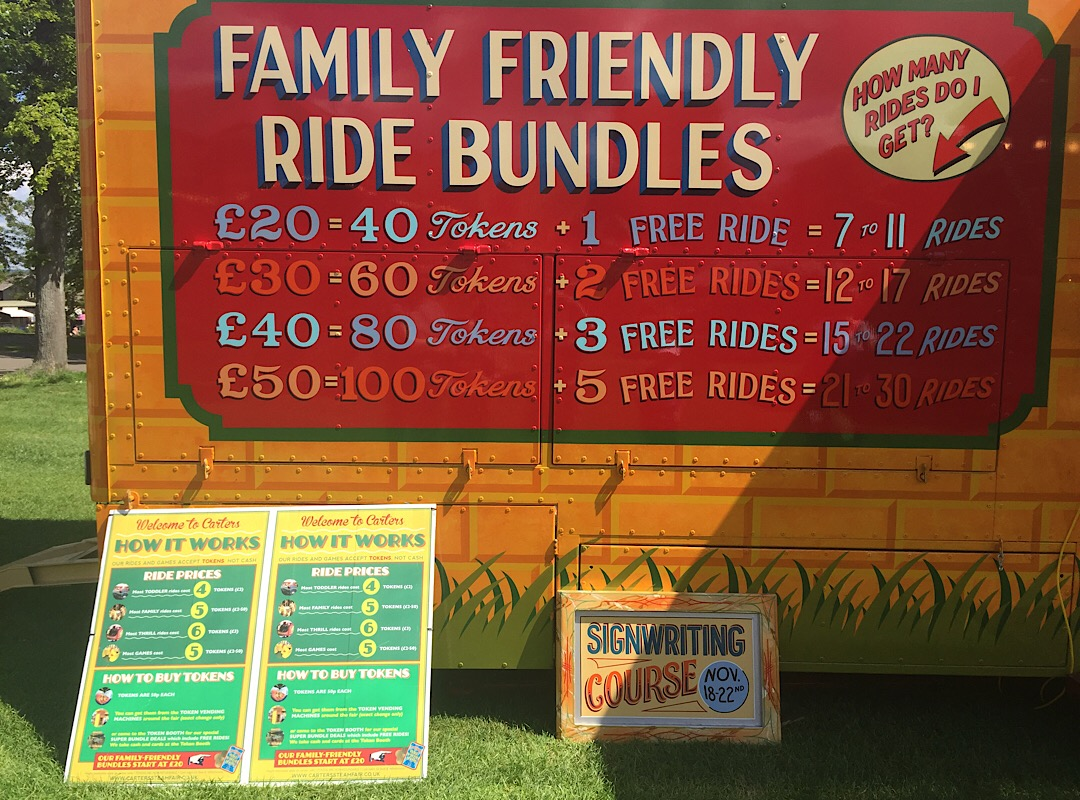 The ride prices at Carters steam fair
