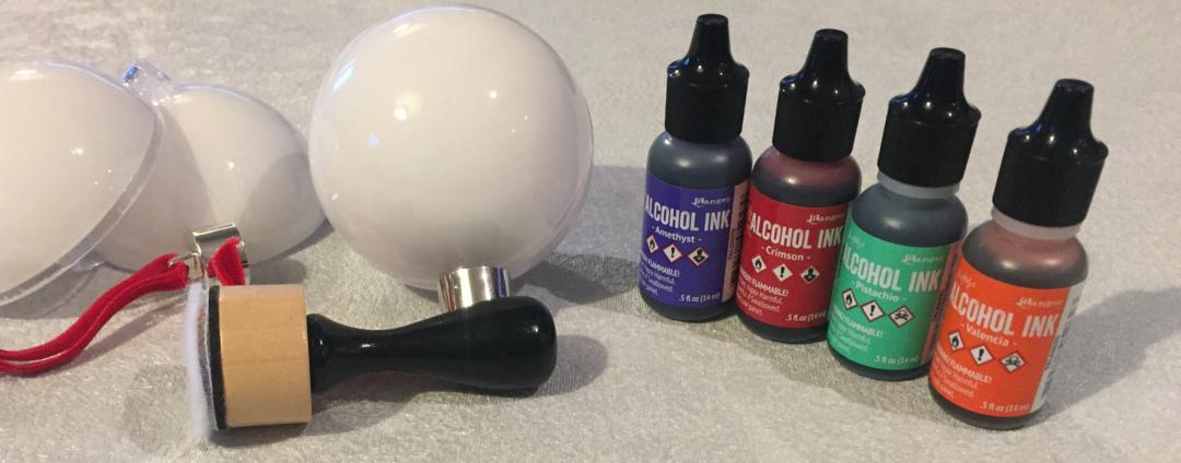 Equipment you'll Need including alcohol ink, applicator and baubles
