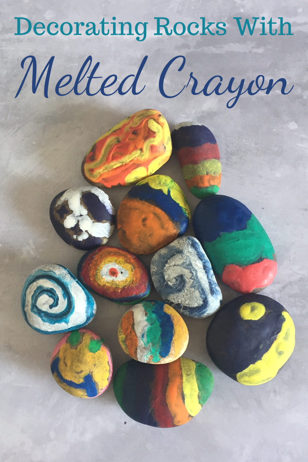 Decorating rocks with melted crayons