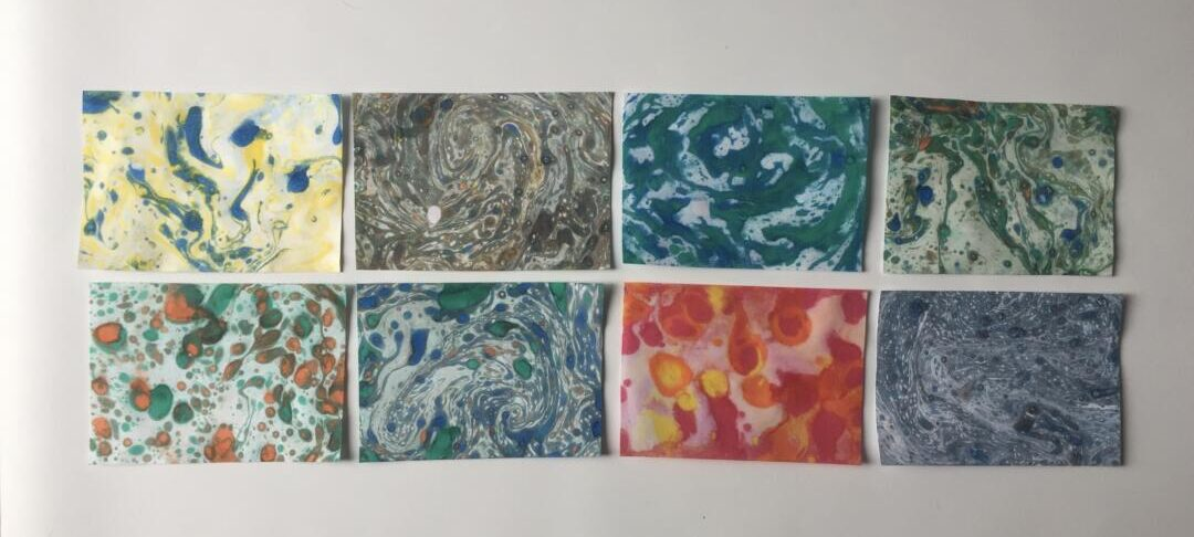 Our finished marbled cards