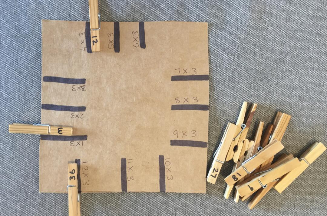 Times table peg game