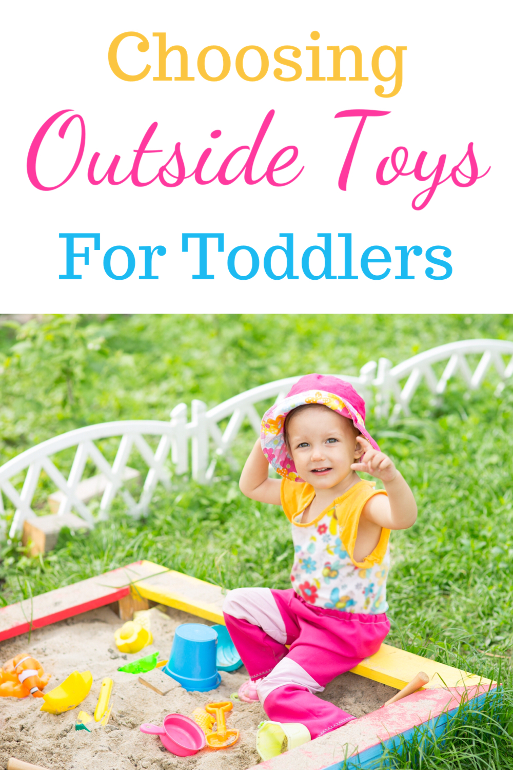 Choosing outside toys for toddlers - toddler playing in sandpit