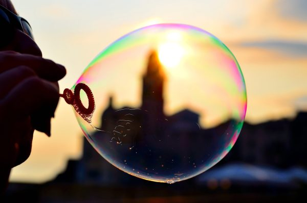 Italian church viewed through a bubble