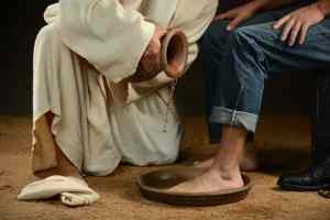 Jesus washing feet of a modern day disciple