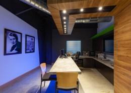 custom desk and header