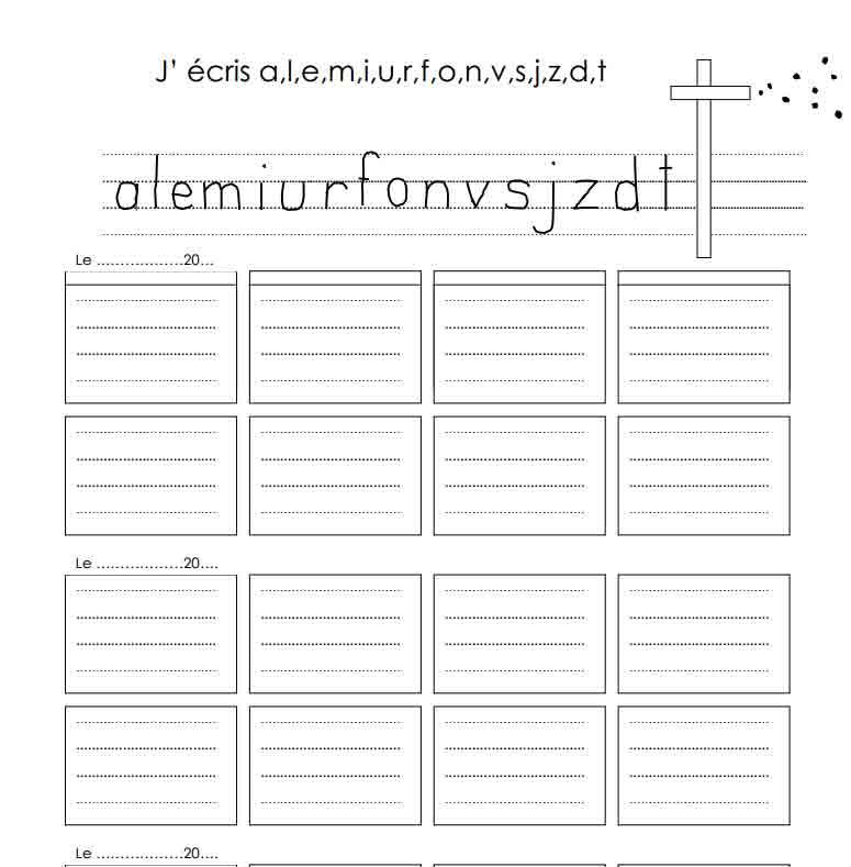 Dictée : J'écris ( a, l, e, i, m, u, r, o, f, n, v, s, j, z, d, t)