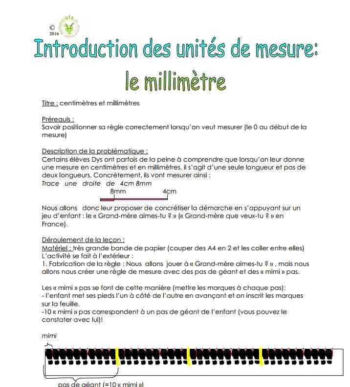 Introduction des unités de mesure : le millimètre