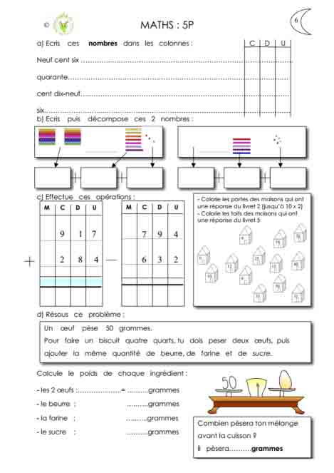 Programme semaine 6 maths 5P Harmos