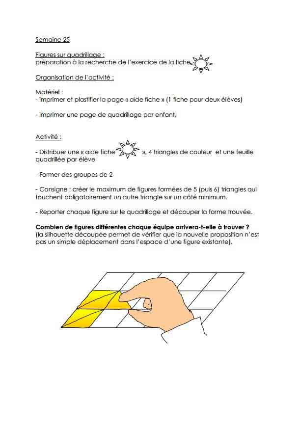 Programme semaine 25 Maths 5P Harmos