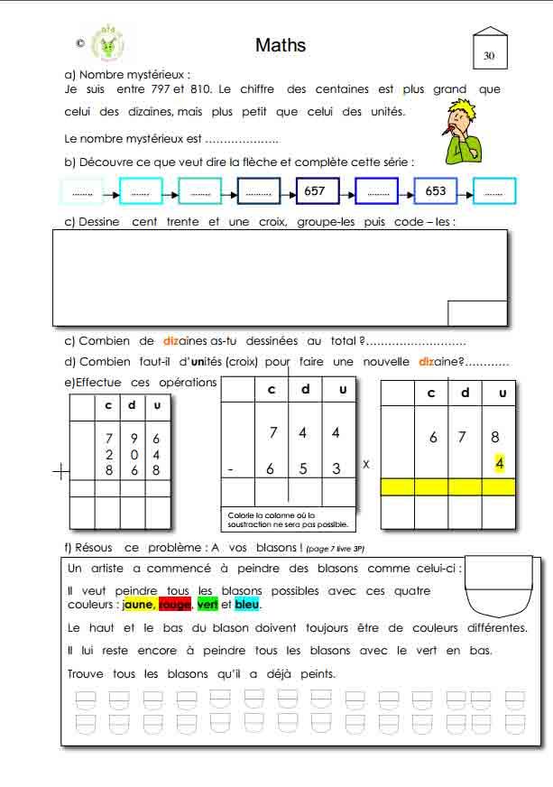 Programme semaine 30 Maths 5P Harmos