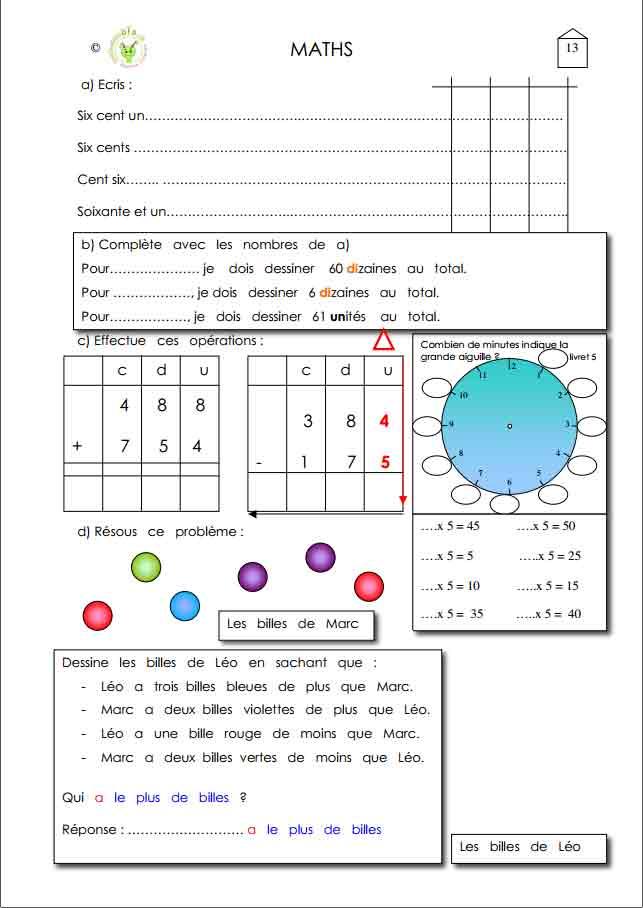 Programme semaine 13 Maths 5P Harmos