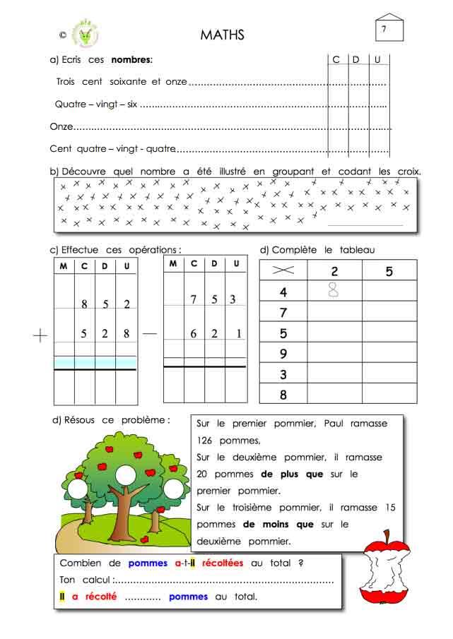 Programme semaine 7 Maths 5P Harmos
