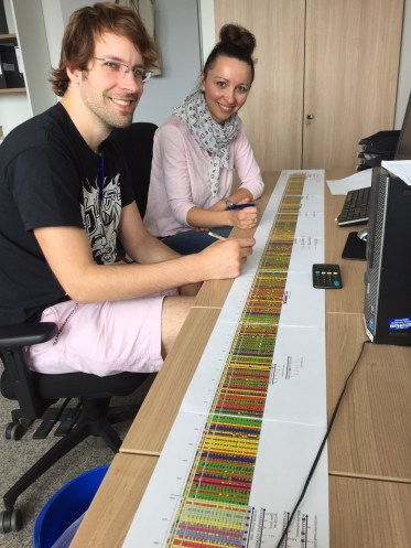 We used the R package PrimerMiner to obtain sequences for the 15 most important freshwater invertebrates from reference databases. Edith Vamos and I are screening the sequence alignment for suitable primer binding sites in this picture.